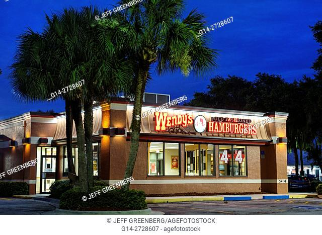 Florida, Ellenton, Wendy's, hamburgers, fast food, restaurant, chain, business, building, exterior, lit sign, branding, dusk, special, parking, night