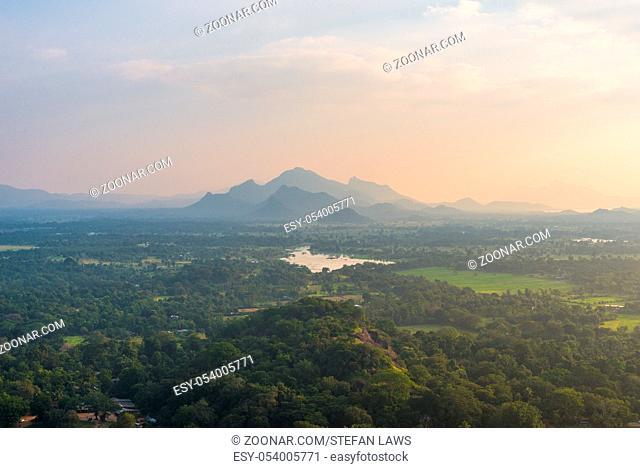 Landscape in the Central Province Sri Lanka near Sigiriya, the famous rock fortress