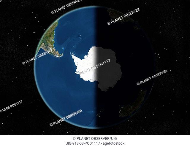 Globe Centred On The South Pole, True Colour Satellite Image. True colour satellite image of the Earth centred on the South Pole, at the equinox at 6 p