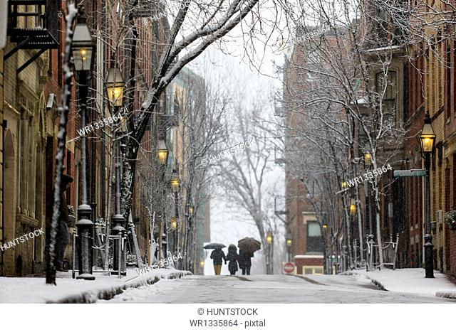 Street view during blizzard in Boston, Suffolk County, Massachusetts, USA