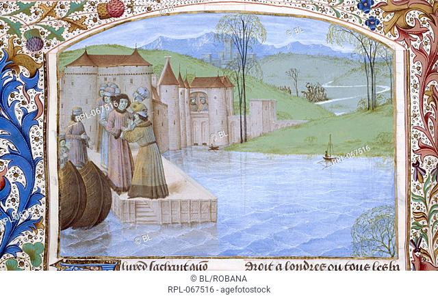 The landing of Alfred, Miniature only King Alfred, standing on a jetty, is greeted by a monk, with a crowd behind them, a walled town and landscape in the...