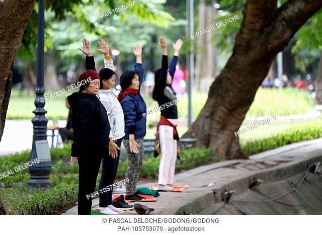 Women do Tai Chi in the morning on the banks of Hoan Kiem Lake Hanoi. Vietnam. | usage worldwide. - Hanoi/Hanoi/Vietnam