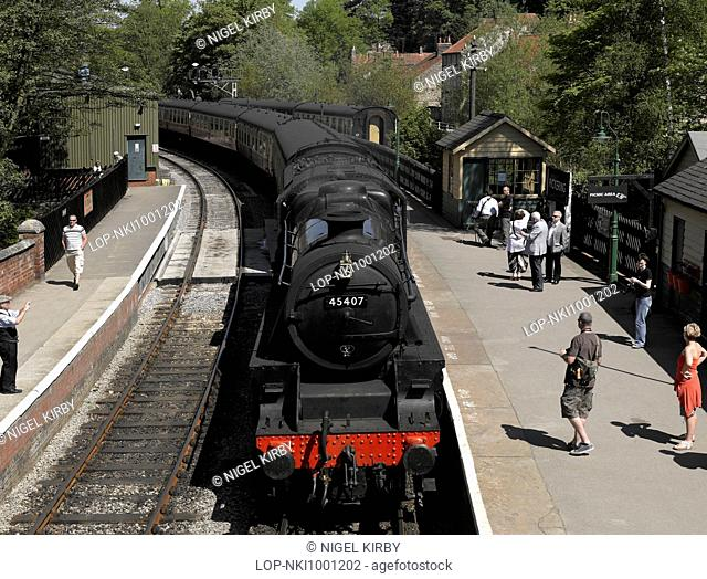 The steam locomotive called Lancashire Fusilier arrives at Pickering railway station