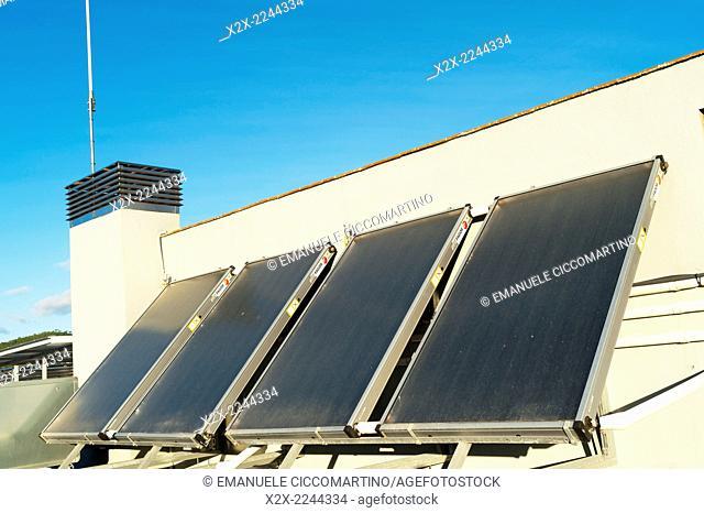 Water-heating solar panel in a flat roof, Eivissa, Ibiza, Balearic Islands, Spain, Mediterranean, Europe