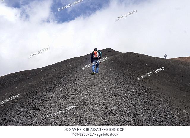 Hiker, Mount Etna, Catania, Sicily, Italy