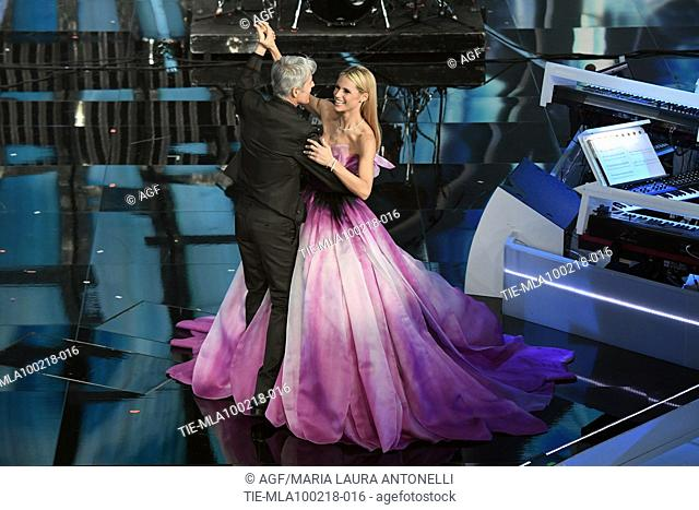Claudio Baglioni, Michelle Hunziker during Sanremo italian music festival, Sanremo, Italy 09/02/2018