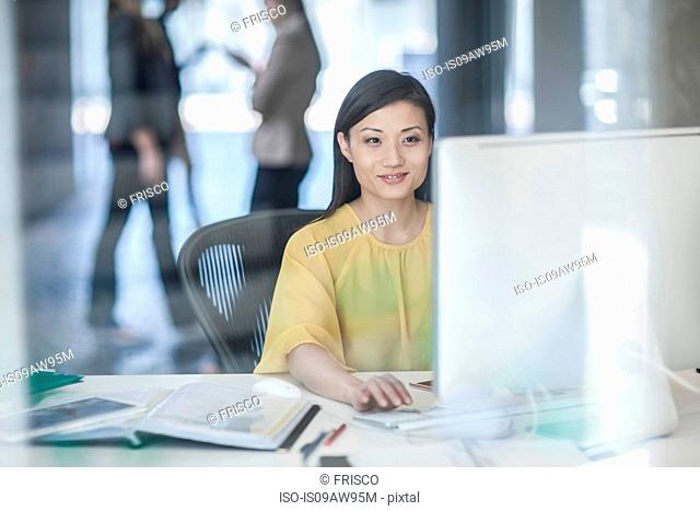 Mid adult businesswoman using computer