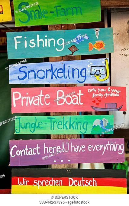 Thailand, Trat Province, Koh Chang, Bang Bao, Travel Agent Sign