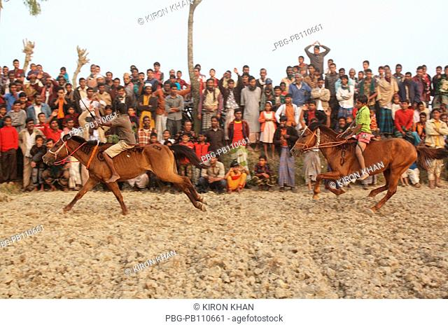 The horse race or Ghora dabor is a traditional sporting event held on mud road or open field, right after harvesting in the wiinter Sirajganj