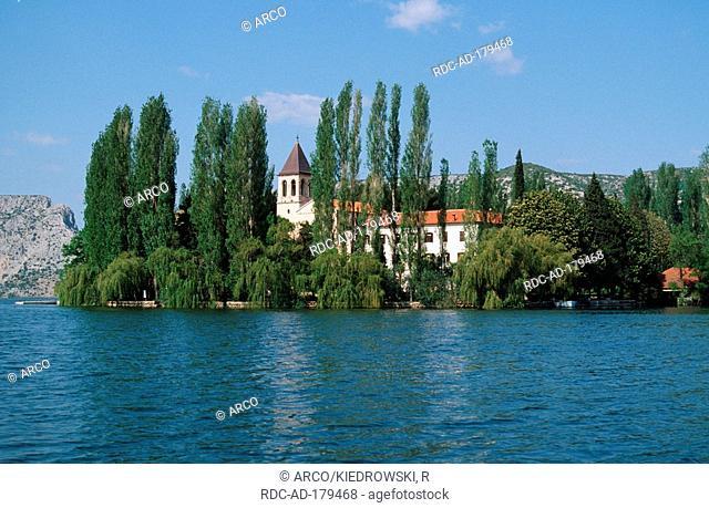 Roman Catholic monastery, Island of Visovac, national park Krka, Dalmatia, Croatia