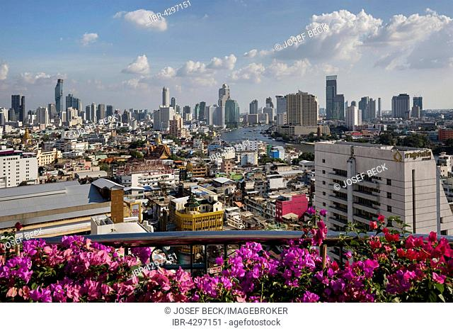 Panoramic view from balcony of Grand China Hotel, skyscrapers, Bang Rak Financial District, Silom District Chao Phraya River, Chinatown, Bangkok, Thailand