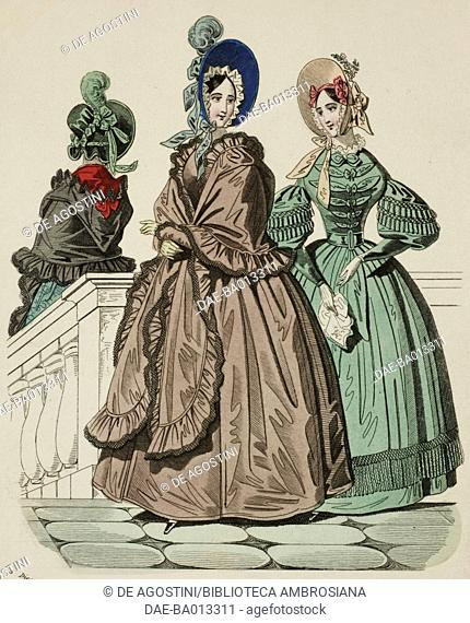 Female sketches with brown and green dresses and bonnet, plate 67 taken from Parisian Fashion, Il Corriere delle Dame (Ladies' Courier), 5th December 1836