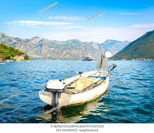 Fishing boat in the bay of Kotor in Perast