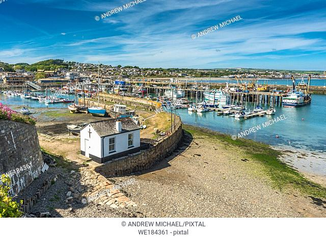 The harbour at Newlyn fishing village near Penzance in Cornwall, England, UK