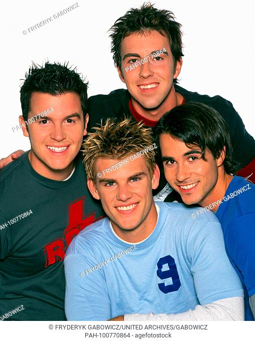 """""""""""Together"""", amerikanisch-kanadische Persiflage-Boyband, beim Fotoshoting in Weimar, Deutschland 1997. American Canadian parody boyband """"Together"""" during..."