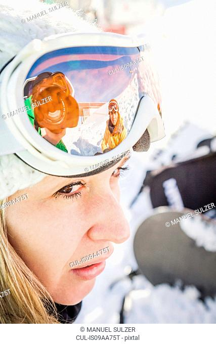 Close up portrait of female skier Kitzbuhel, Tyrol, Austria