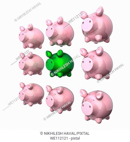 Arrangement of 9 piggy banks with one green in center