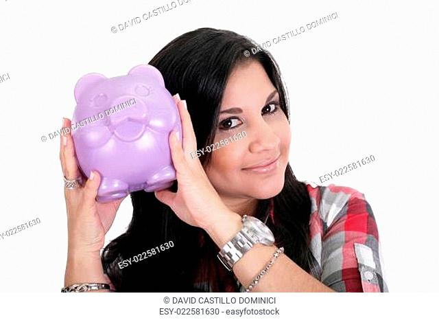Happy business woman with her savings, isolated