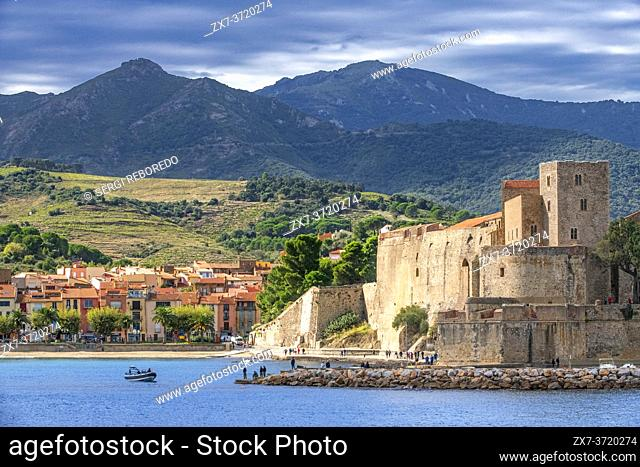 Royal castle of Collioure and landscape seaside beach of the picturesque village of Colliure, near Perpignan at south of France Languedoc-Roussillon Cote...
