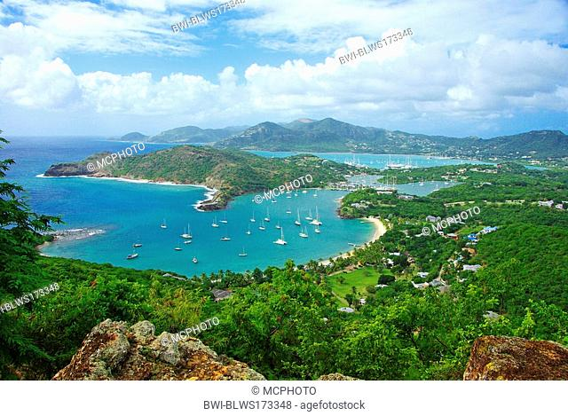 Leewards Island, Leeward Inseln, Shirley Heights, English Harbour, Falmouth Harbour, Antigua and Barbuda, Caribbean Sea