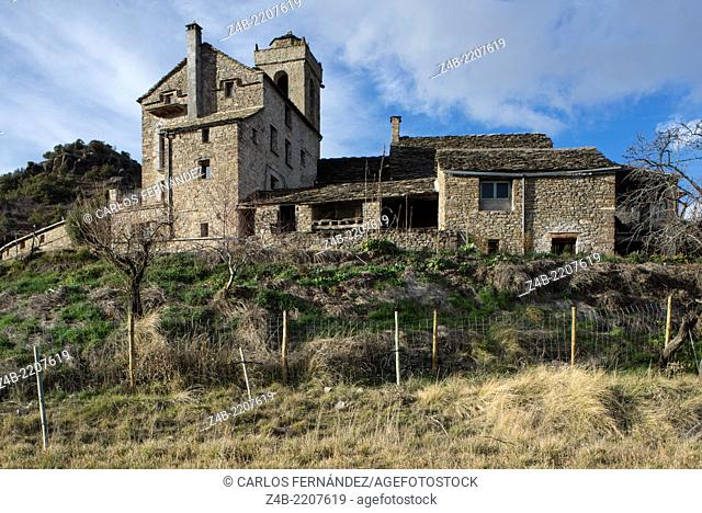 17th century manor house and the magnificent 11th century St. Martin Church, declared historical monument at San Martín neighbourhood at Santa María de Buil