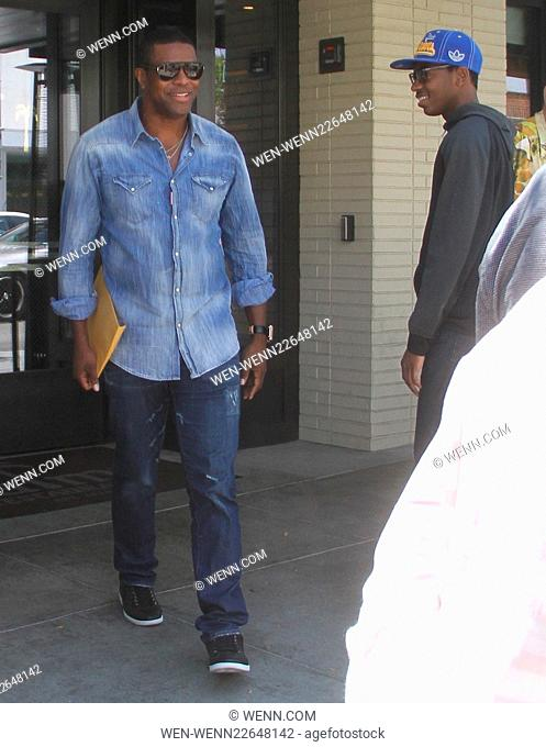 Chris Tucker takes his son to lunch at The Palms in Beverly Hills Featuring: Chris Tucker, Destin Tucker Where: Los Angeles, California
