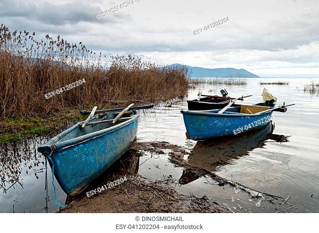Traditional wooden boats at the Prespes lakes, Greece