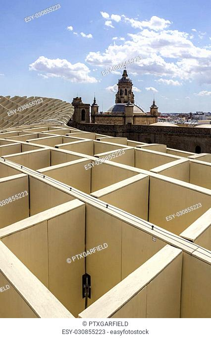 SEVILLE, SPAIN - MAY 2014: Panoramic view in the top of Metropol Parasol in Plaza de la Encarnacion on 31 of May 2014 in Sevilla,Spain