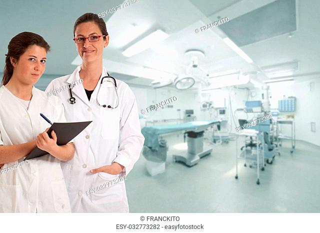 Female doctor and nurse in an operating room
