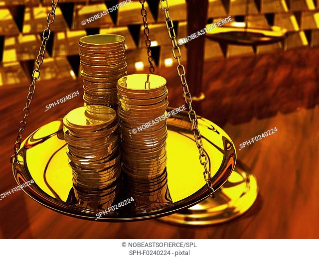 Gold coins on brass scale and gold ingots, illustration