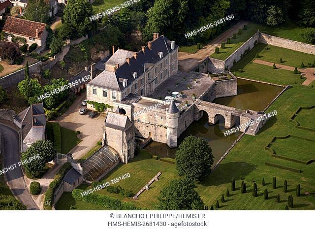 France, Loir et Cher, Loire Valley, listed as UNESCO World Heritage, St Denis sur Loire Castle (aerial view)