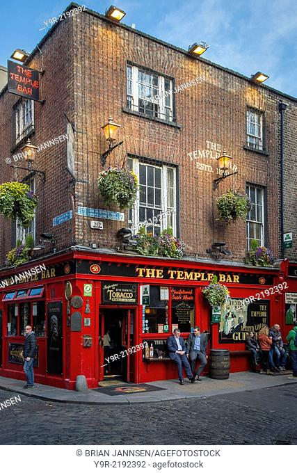 Evening at historic Temple Bar, Dublin, County Eire, Ireland