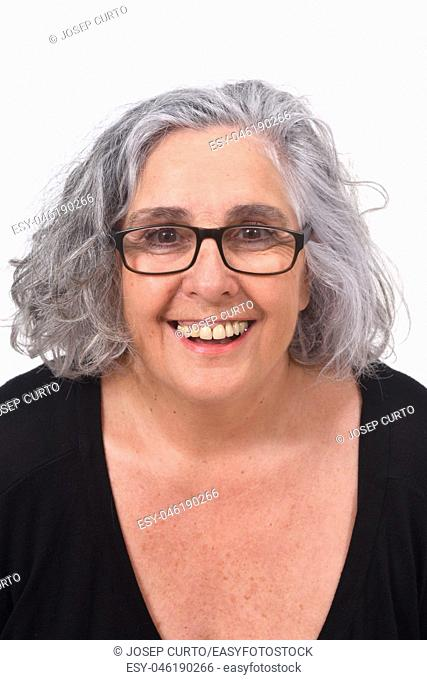 portrait of a woman smiling on white background