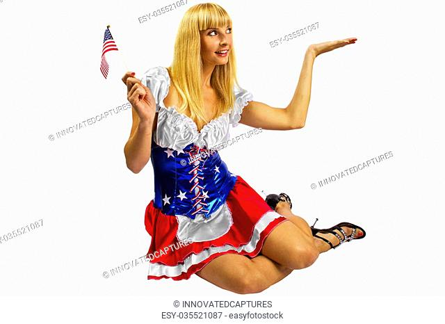 young female wearing american flag costume