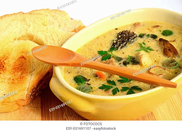 Cream soup prepared of chicken meat and lot of sorts of wild mushrooms, spiced with fresh, green herb spices and served in rustic