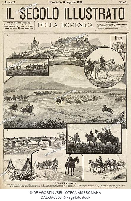 1 View of Montichiari, Lombardy, Directorate-General of manoeuvres, 2 King Umberto I watching cavalry manoeuvres, 3 supporting artillery