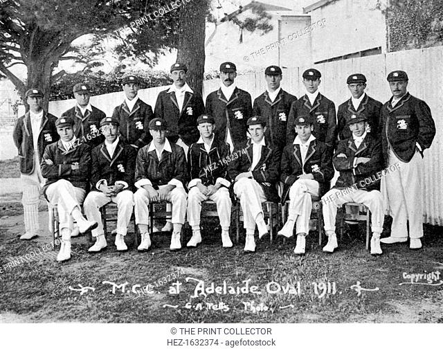The Australian-touring English cricket team of 1911-1912. From Imperial Cricket, edited by P F Warner and published by The London and Counties Press Association...