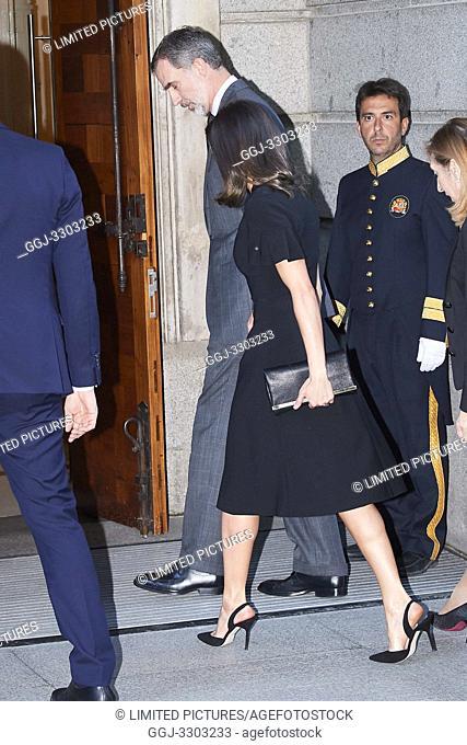 King Felipe VI of Spain, Queen Letizia of Spain, Pedro Sanchez, Prime Minister attends Alfredo Perez Rubalcaba Funeral Chapel In Madrid at Congreso de los...