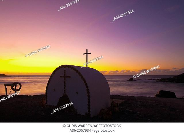 Open Chapel Los Molinos Fuerteventura Canary Islands Spain at sunset