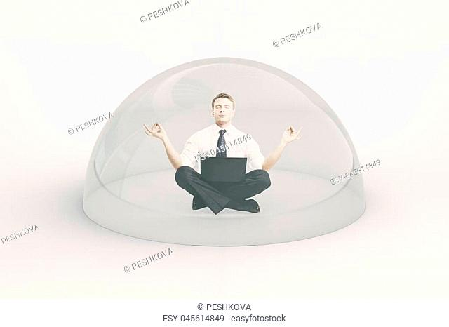 Internet security concept. Businessman with laptop meditating under shield on light background. 3D Rendering
