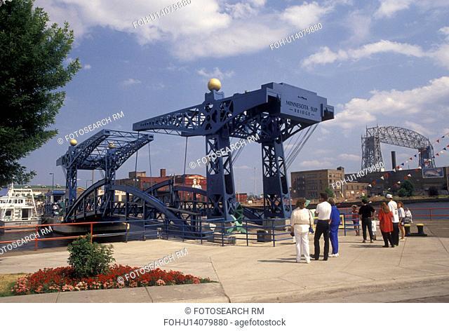 drawbridge, Duluth, MN, Minnesota, Lake Superior, Minnesota Slip Bridge, a pedestrian bridge, on Duluth Harbor in Duluth