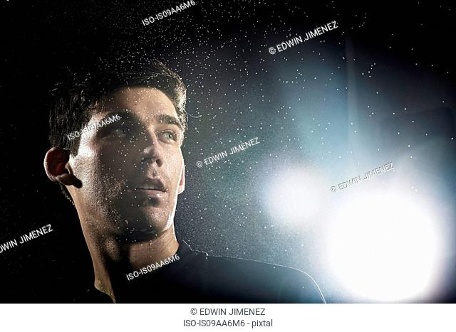 Close up portrait of young male soccer player