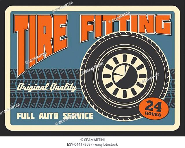 Car auto service or tire fitting station retro poster. Vector vintage design of tire track of car light alloy wheel for automobile spare parts shop or transport...