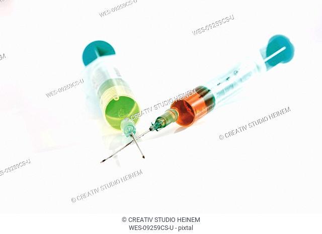 Medical syringes, close-up