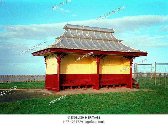 A traditional beach shelter at Blackpool, 1999