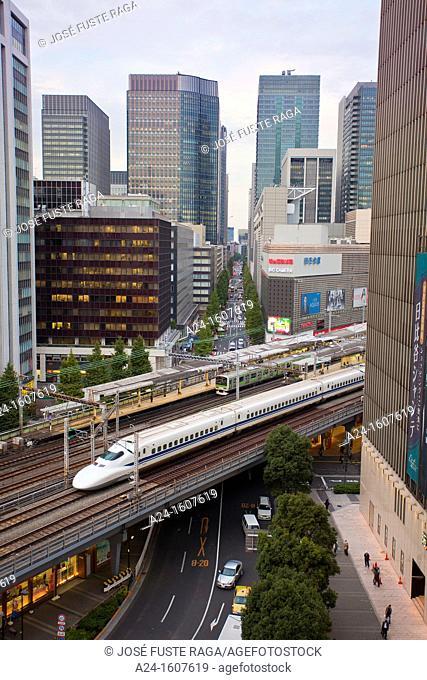 Japan-Tokyo City-Ginza-The Bullet train through Yurakucho area