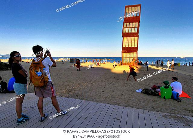 """Sculpture """"L'estel ferit"""" ( The wounded star ) by Rebecca Horn at Barceloneta beach, 1992. Barcelona, Catalonia, Spain"""