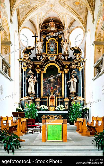 Willisau, LU / Switzerland - 3 July 2020: historic paintings fron the 17th century in the Heiligblut or