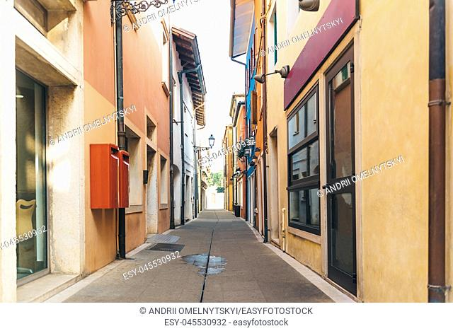 Tourist district of the old provincial town of Caorle in Italy on the Adriatic coast