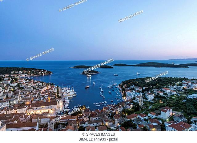 Aerial view of coastal town on hillside, Hvar, Split, Croatia